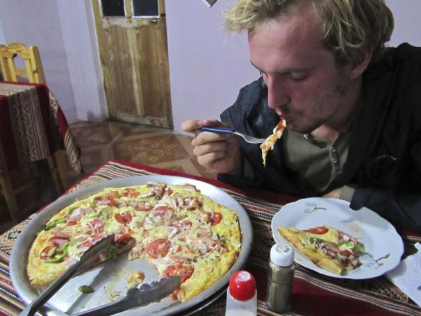 Delicious trout pizza in Bolivia for only $3.